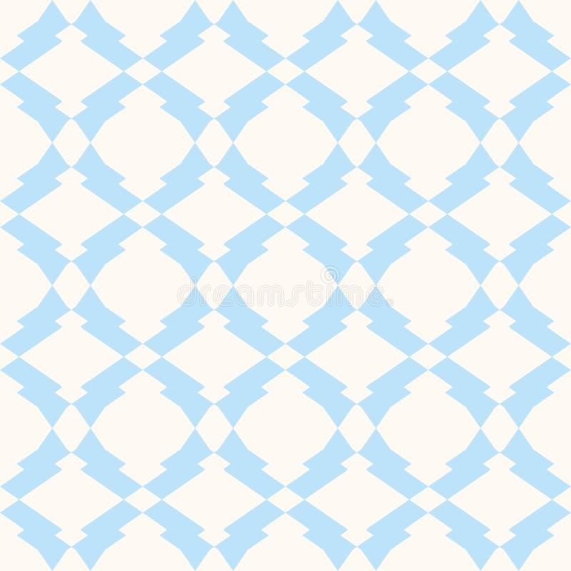 Subtiel naadloos patroon in witte en lichtblauwe kleuren Gevoelige ornamentachtergrond stock illustratie