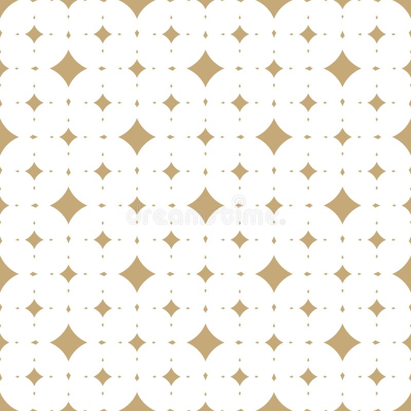 Subtiles Weiß und Gold vector nahtloses Muster mit Diamantformen lizenzfreie abbildung