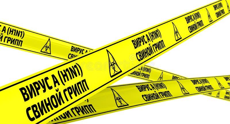 Subtipo H1N1 do vírus da gripe A Gripe dos suínos Fitas de advertência amarelas ilustração stock