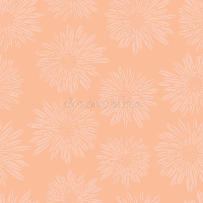 Subtle floral background. Coral pink Aster Dahlia Flowers seamless vector pattern. Hand drawn contemporary feminine art.  stock illustration