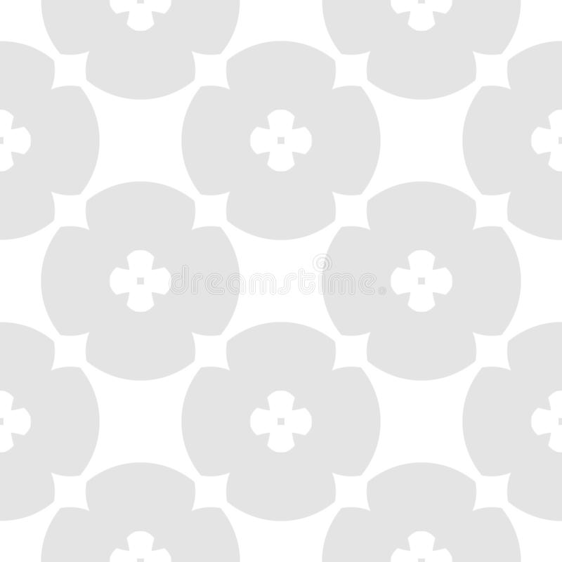 Subtle vector geometric seamless pattern flower shapes, circles. Gray and white vector illustration