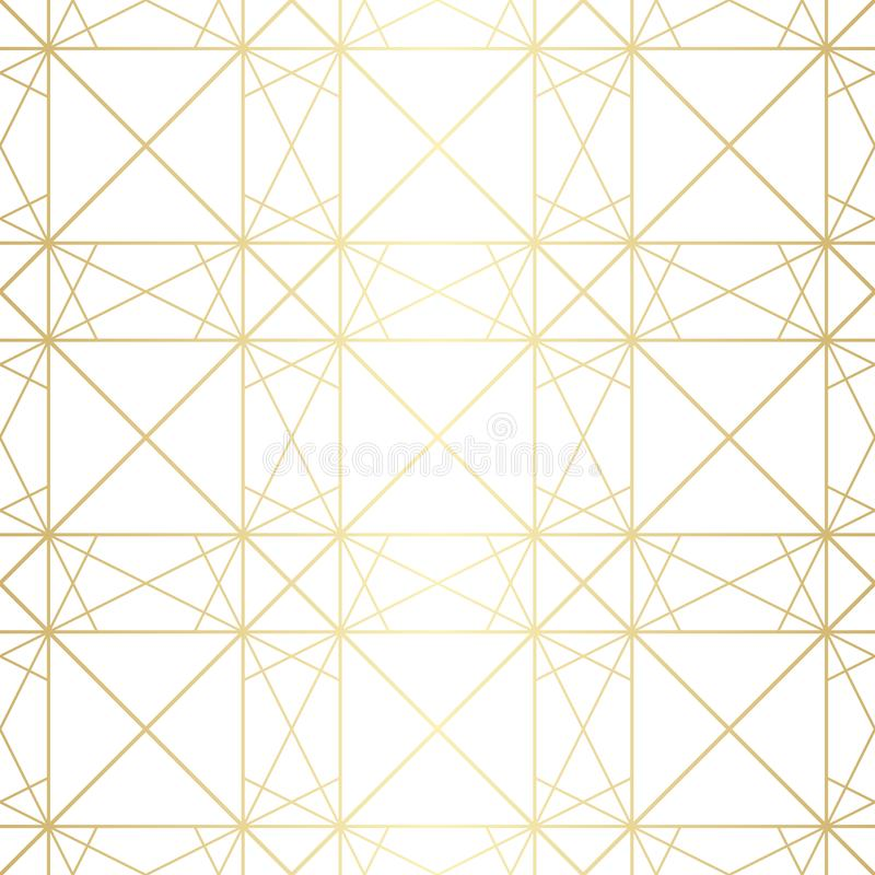 Subtle golden vector geometric seamless pattern with diamond grid, thin lines royalty free illustration