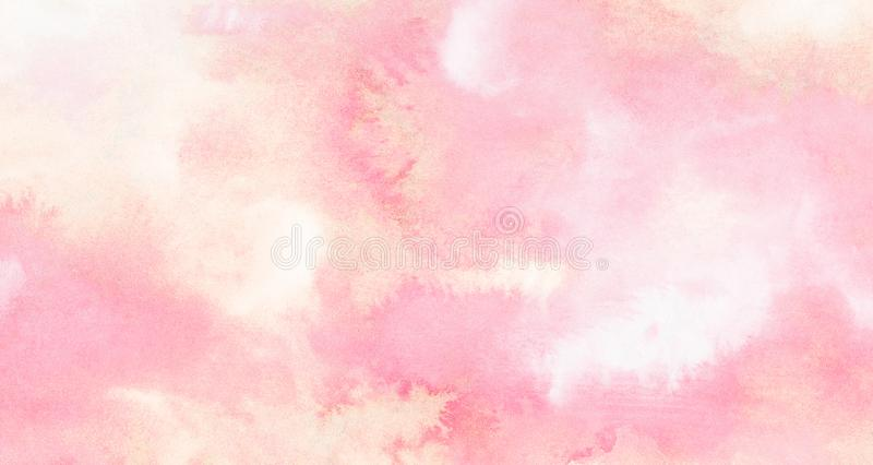 Subtle light pink color ink effect shades gradient on textured paper. Smeared aquarelle painted magenta watercolor canvas. For splash design, invitation royalty free stock photography