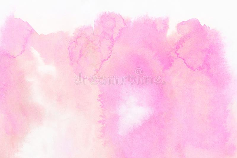 Subtle light pink color ink effect shades gradient on textured paper. Smeared aquarelle painted magenta watercolor canvas. For splash design, invitation royalty free stock images
