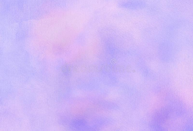 Subtle light purple gradient water color stained paper texture background. Soft smeared gentle violet abstract watercolor. Illustration for aquarelle card royalty free stock photo