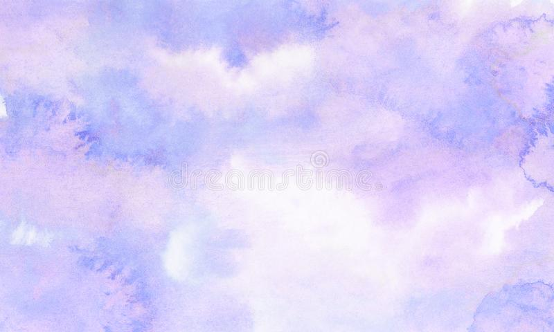 Subtle light purple gradient water color stained paper texture background. Soft smeared gentle violet abstract watercolor. Illustration for aquarelle card stock image