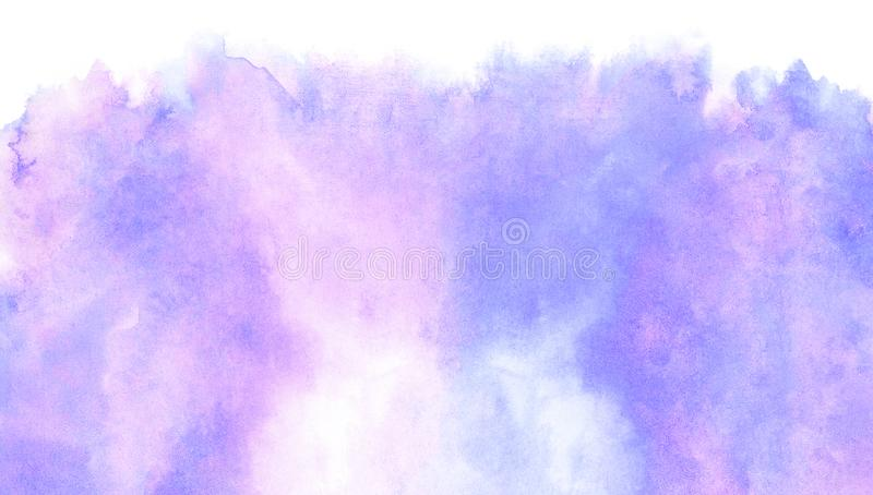 Subtle light purple gradient water color stained paper texture background. Soft smeared gentle violet abstract watercolor. Illustration for aquarelle card royalty free stock images