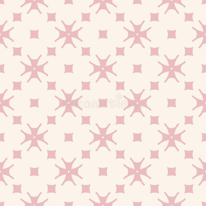 Subtle minimal floral pattern with small flowers, squares. Design for girls, babies, decoration, prints. Subtle minimal floral pattern in pink and beige colors vector illustration