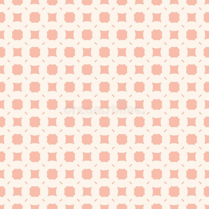 Subtle pink background. Vector geometric seamless pattern with simple figures. Subtle vector geometric seamless pattern with simple figures, squares, octagons stock illustration