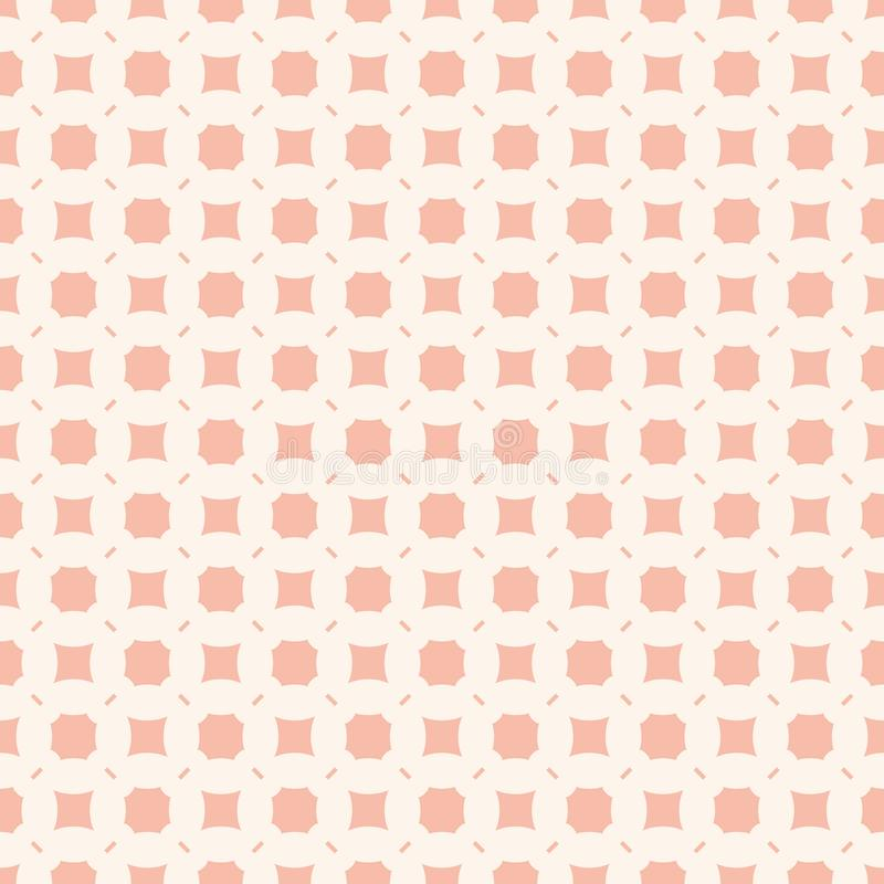 Subtle pink background. Vector geometric seamless pattern with simple figures. Subtle vector geometric seamless pattern with simple figures, squares, octagons vector illustration