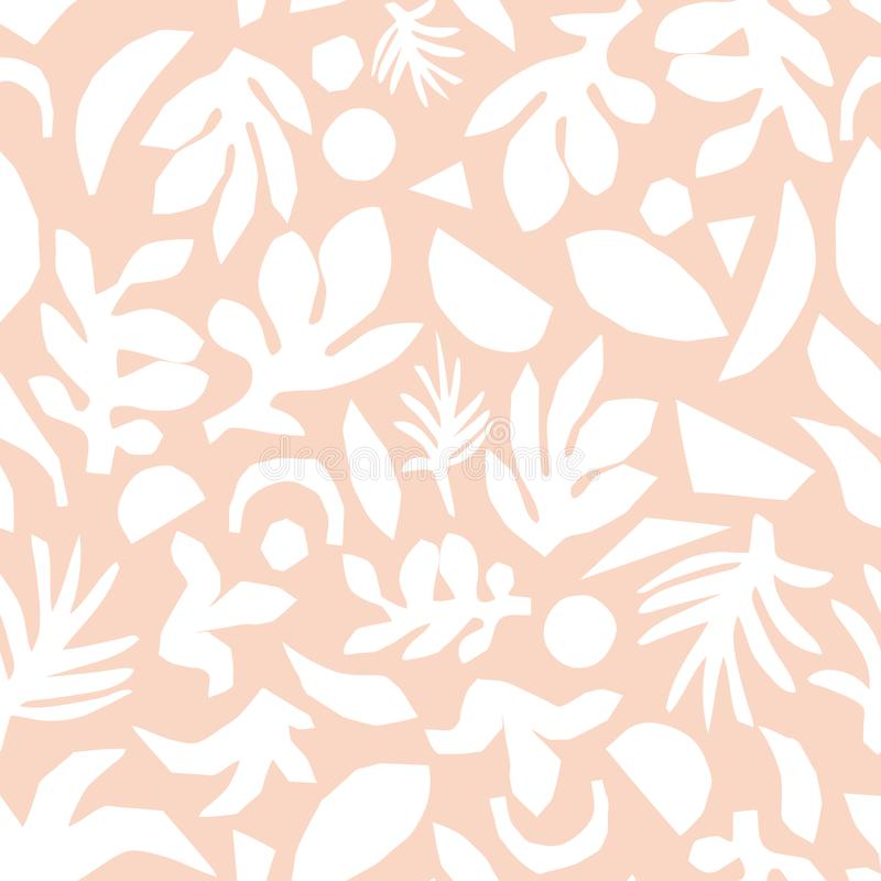 Subtle pink and white floral background vector. Feminine Seamless surface pattern design. Abstract flower elements royalty free illustration