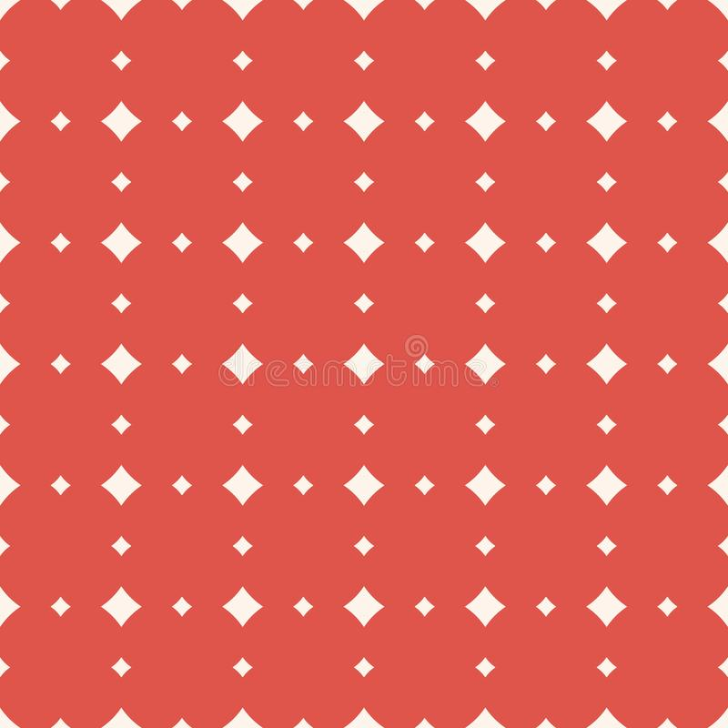 Subtle red and white vector seamless pattern with rhombuses, squares, diamonds royalty free illustration