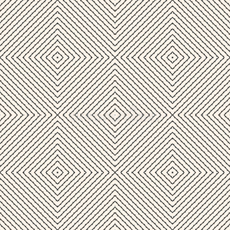 Subtle seamless pattern with diagonal lines, squares. Natural organic style. stock illustration