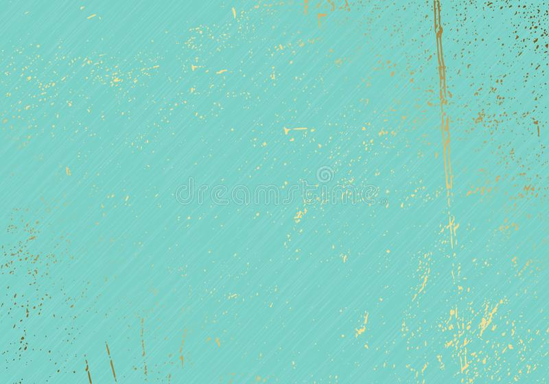 Subtle turquoise vector texture overlay. Abstract gold splattered glamour background. Dotted grain golden grunge backdrop. Festive royalty free illustration