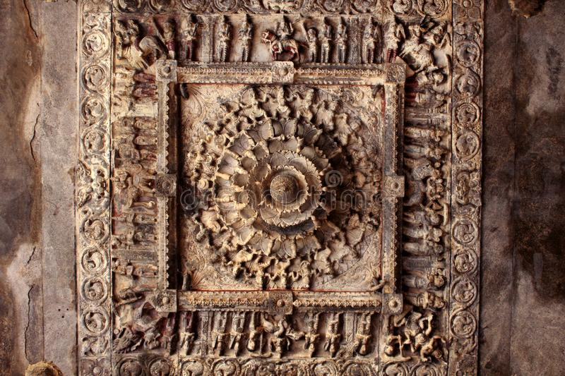 Subtlety of stone inner roof design in temple hall. Jalakandeswarar temple dedicated to lord shiva which is located in the Vellore Fort, Tamil Nadu State, India royalty free stock photo