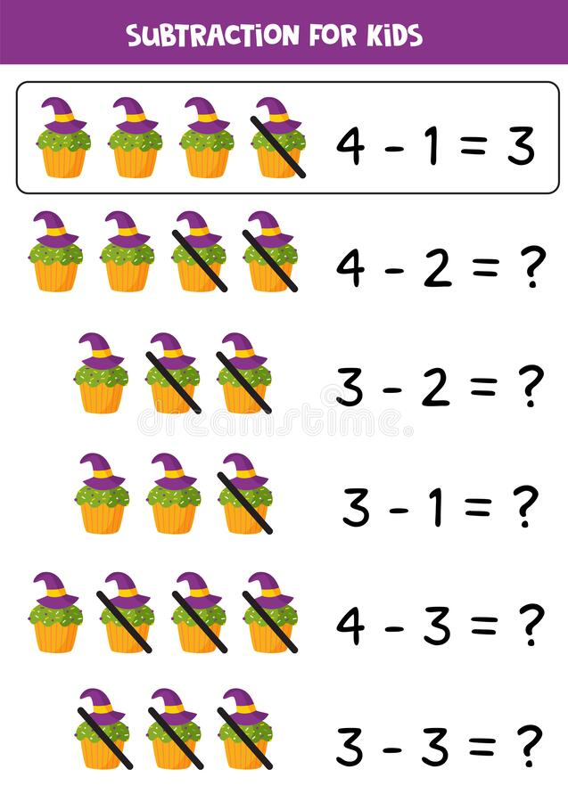 Free Subtraction With Green Halloween Wizard Hat Muffin. Stock Photography - 194111732