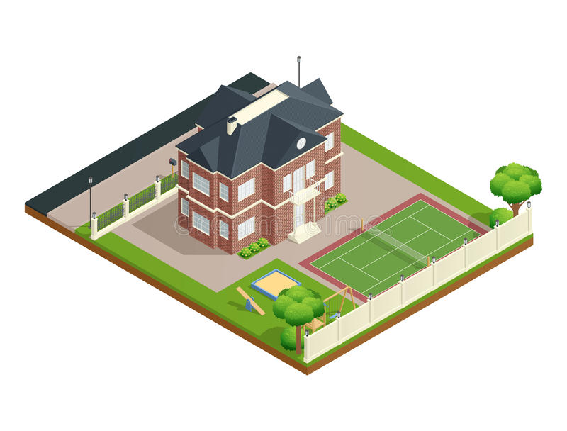 Suburb House Isometric Composition. With backyard lawn children playground and tennis court vector illustration stock illustration