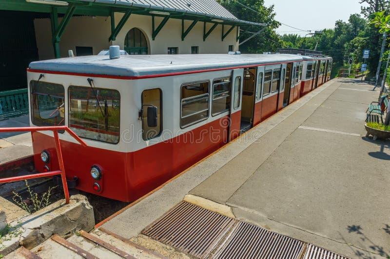 Suburban cogwheel railway. Suburban railway with a cogwheel in Budapest stock photos