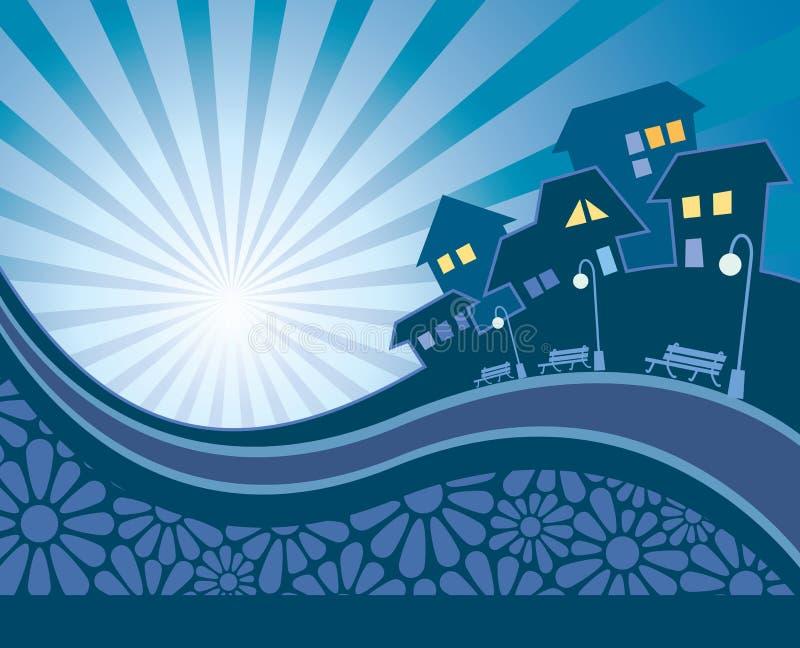 Suburban evening royalty free illustration