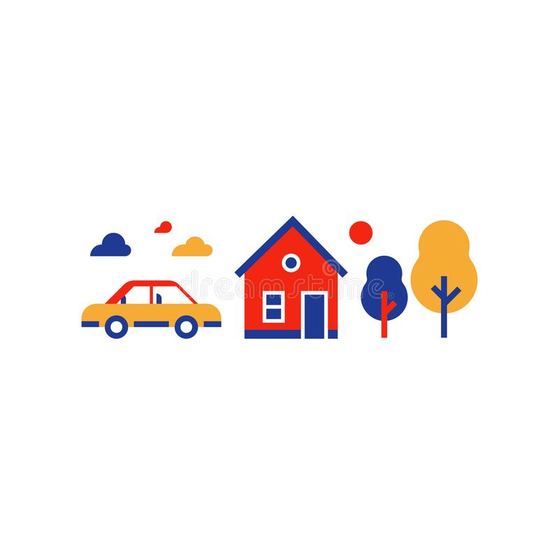 Suburban home with car, summer house, country side, real estate, vector icon stock illustration