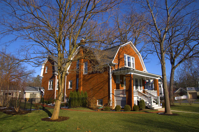 Download Suburban home in Illinois stock image. Image of door - 22524701