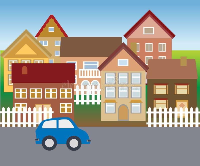 Download Suburban Homes In Quiet Neighborhood Stock Vector - Illustration: 13420615