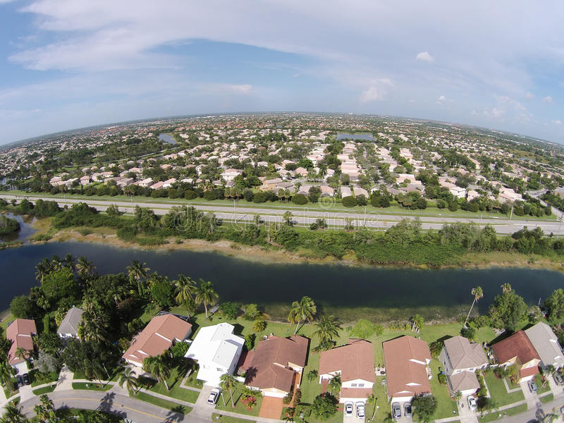 Suburban homes in South Florida aerial. Middle class neighborhood aerial view in South Florida stock photos