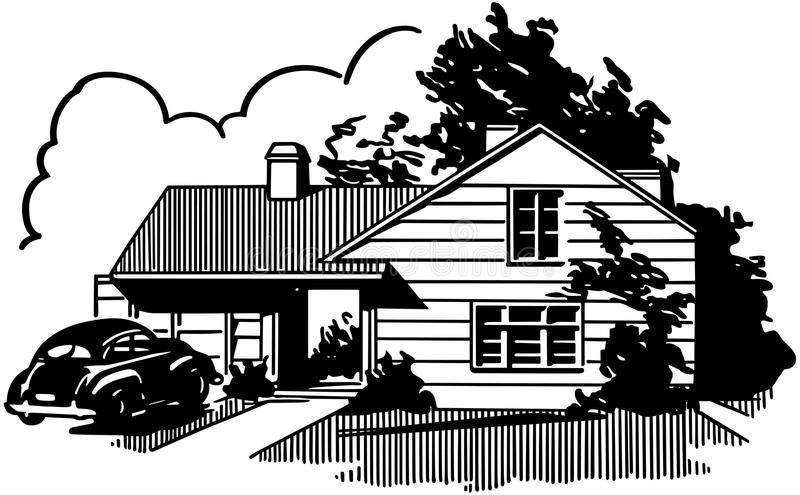 Suburban House stock illustration