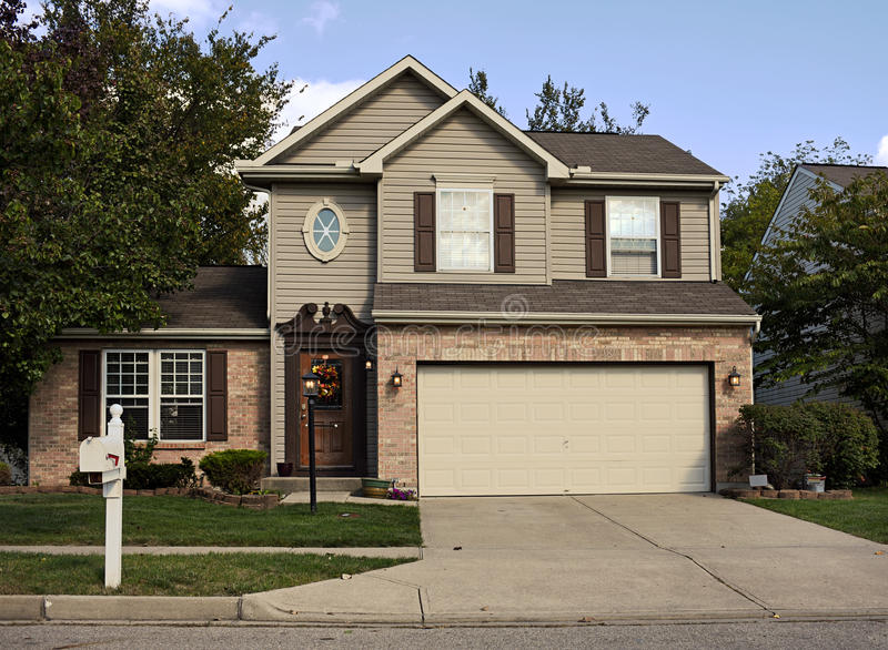 Suburban House With Double Garage Stock Photo Image Of