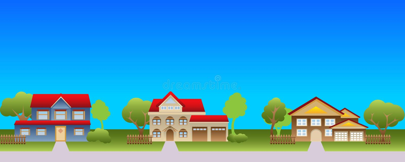 Download Suburban Houses In Neighborhood Stock Vector - Illustration of vector, residential: 17732750