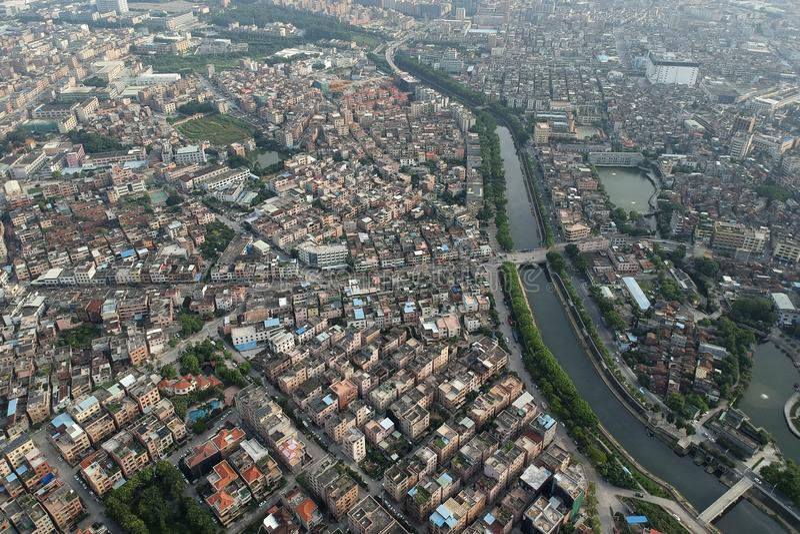 Suburban landscape.Dongguan,China. Dongguan suburbs aerial view in China royalty free stock photography