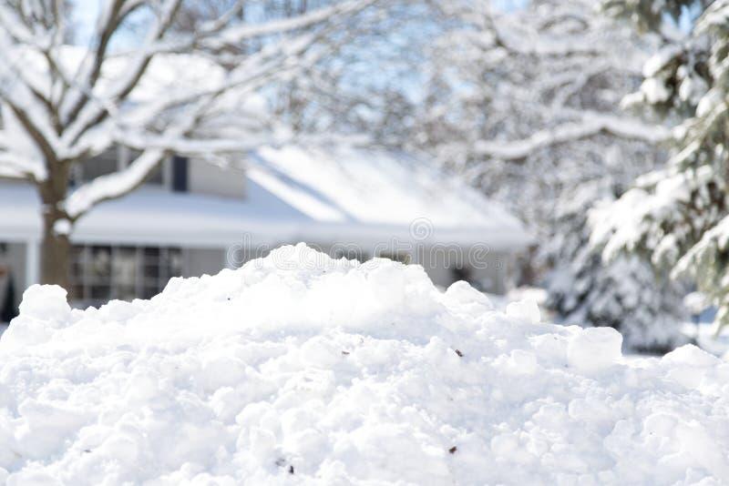 Suburban snow pile stock image