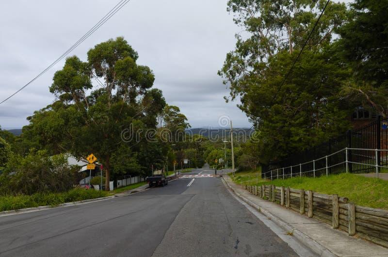 Suburban Street. A suburban street in Hazelbrook, Blue Mountains, New South Wales, Australia royalty free stock photos