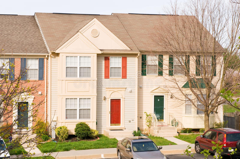 Suburban townhouses. Several suburban townhouses or row houses in a housing development royalty free stock photo