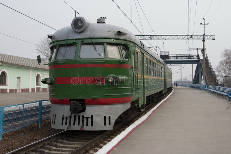 Suburban train. The suburban train stands at station. Russia, Novosibirsk, Station Pravaya ob royalty free stock images