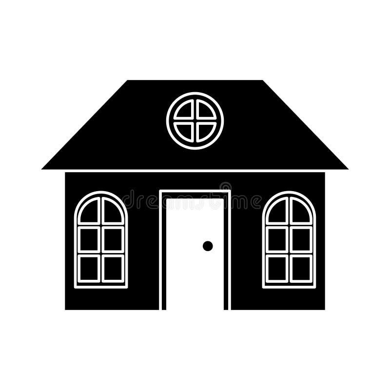 Suburbano arquitetónico da família da casa da silhueta ilustração stock