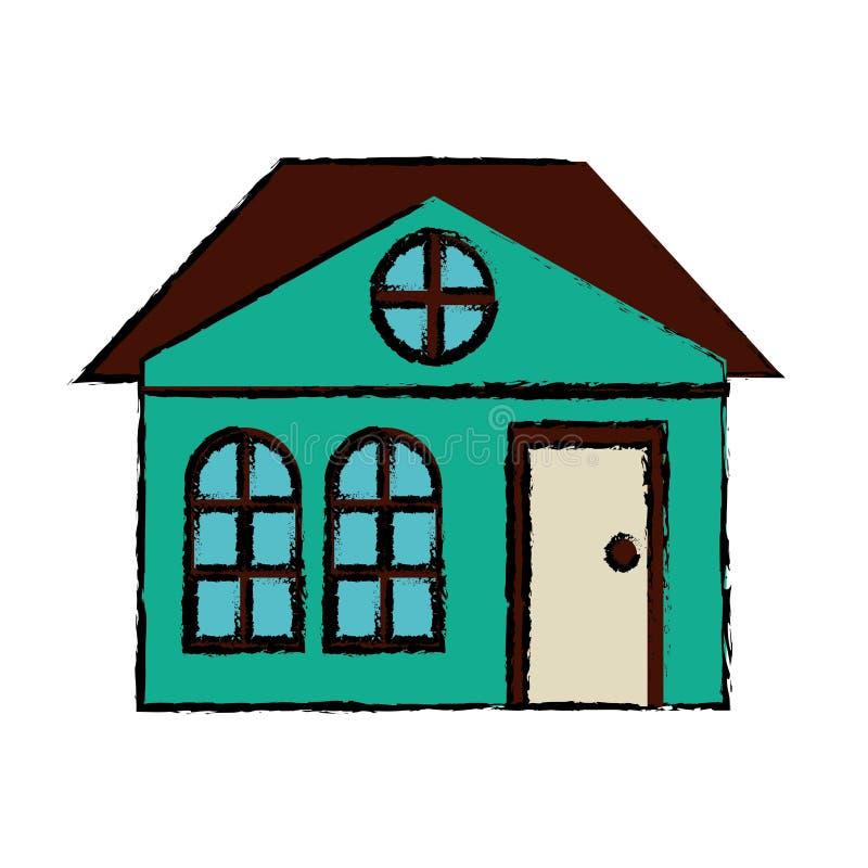 Suburbano arquitetónico da família da casa do desenho ilustração stock