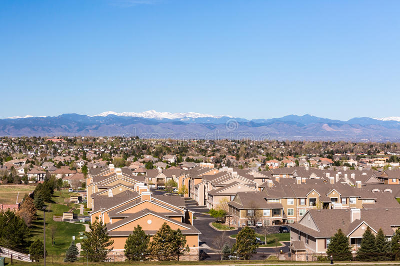 Suburbia. Denver, Colorado, USA-April 13, 2015. Aerial view of typical suburbia in North America royalty free stock image