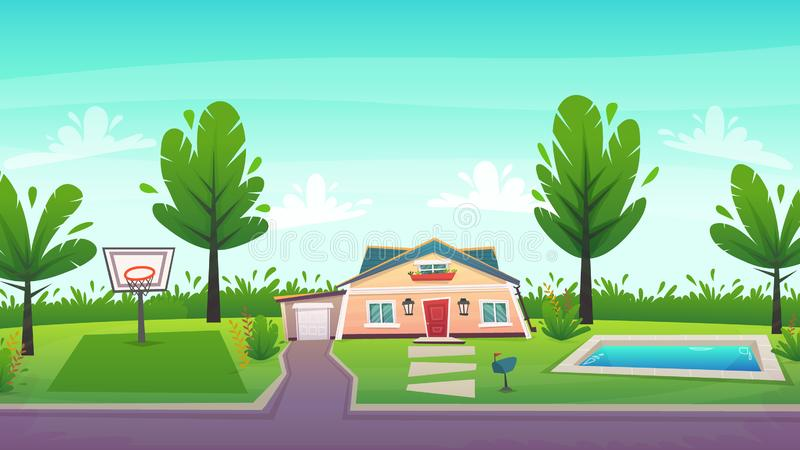 Cottage family house with pool and basketball court. cartoon style. Suburbian house at green field with garage , pool and basketball court , trees and bush fence vector illustration