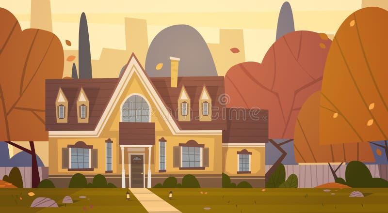 Suburbio de la construcción de viviendas de la ciudad grande en el otoño, concepto lindo de la ciudad de Real Estate de la cabaña ilustración del vector