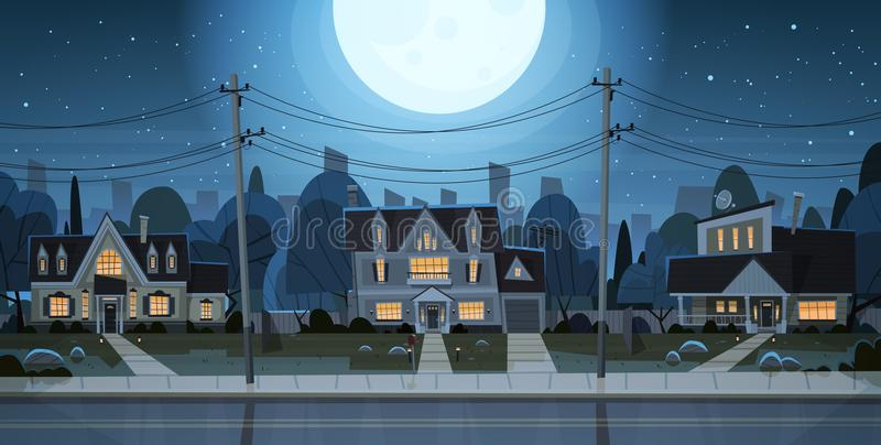 Suburbio de la opinión de la noche de las casas de la ciudad grande, concepto lindo de la ciudad de Real Estate de la cabaña libre illustration