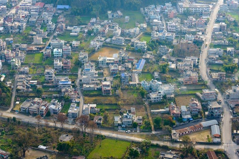 Suburbios de la opinión aérea de Pokhara imagen de archivo libre de regalías