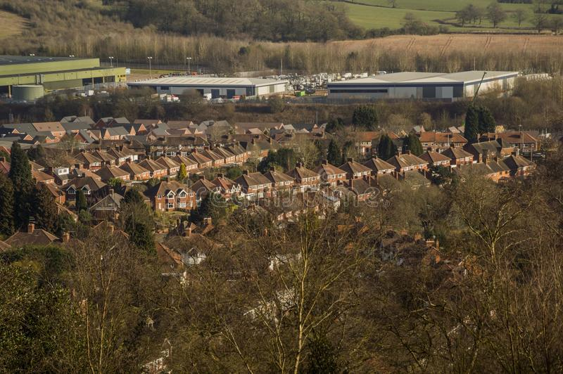 Suburbs. View,viewpoint,birmingham,West Midlands,worcestershire,suburbs,town,house,houses,home,homes,factory,factories,industry,industrial,looking,down,cityscape royalty free stock photos