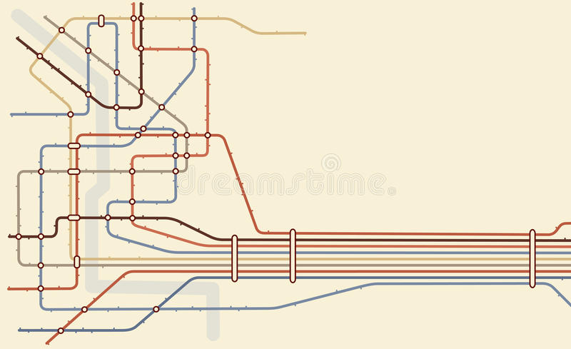 Subway. Editable map of a generic subway system with copy space stock illustration