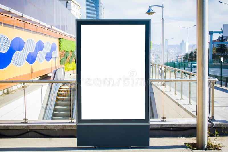 Subway ad in wall street station blank billboard crowds istanbul. City royalty free stock photos