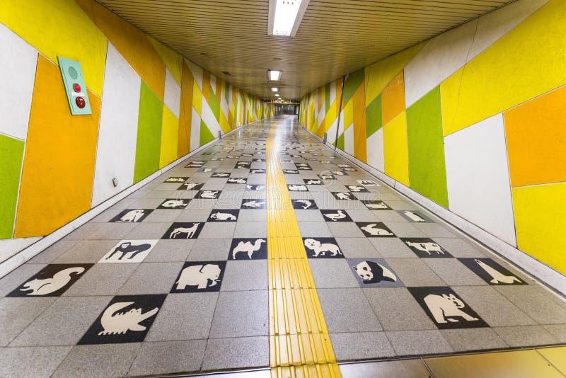 Subway animal theme footpath of Maruyama station, Sapporo. SAPPORO, JAPAN -APRIL 25, 2016: Cute subway exit footpath with animal theme of Maruyama Koen station royalty free stock image