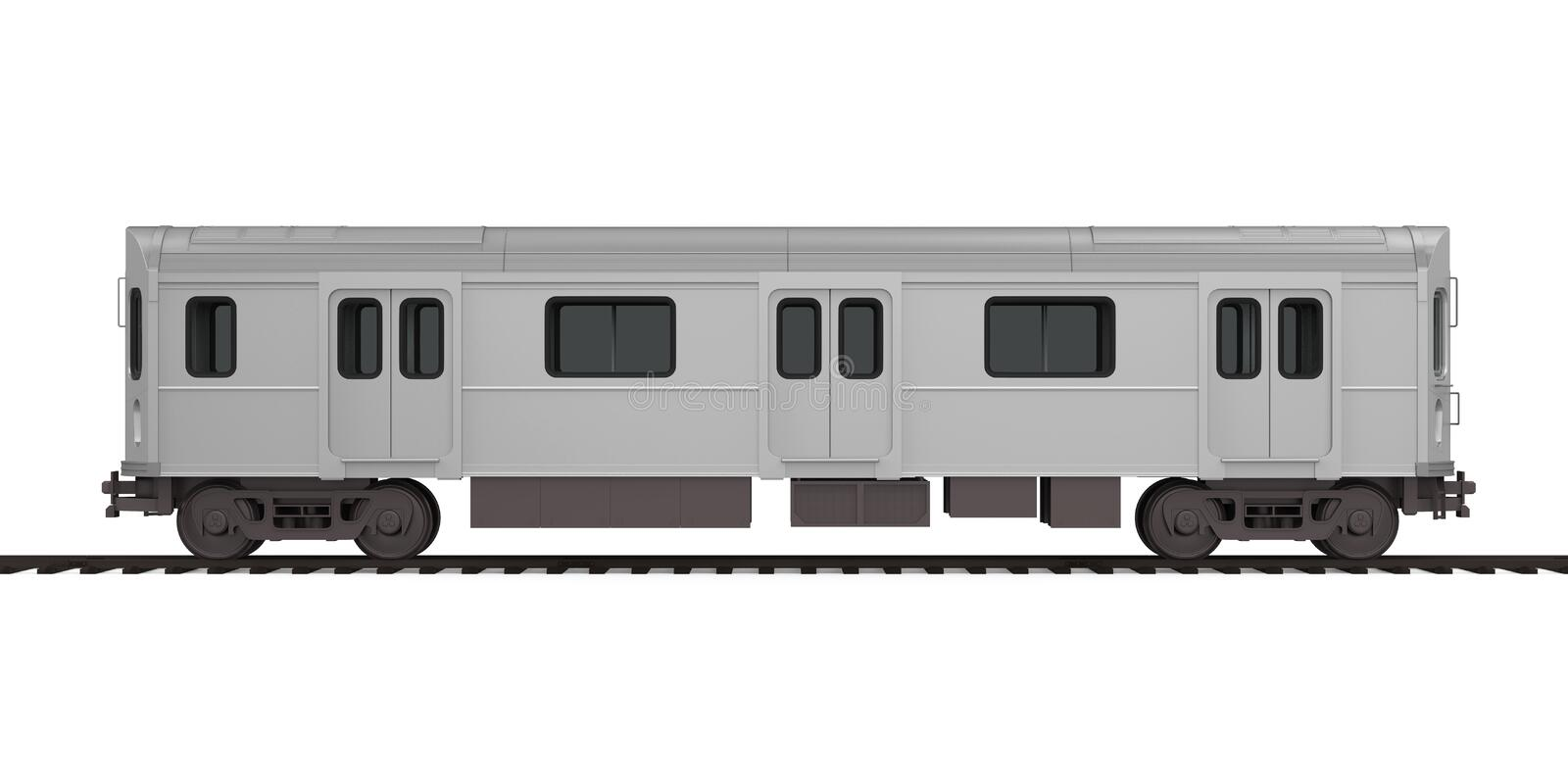 Subway Car Isolated. On white background. 3D render royalty free illustration