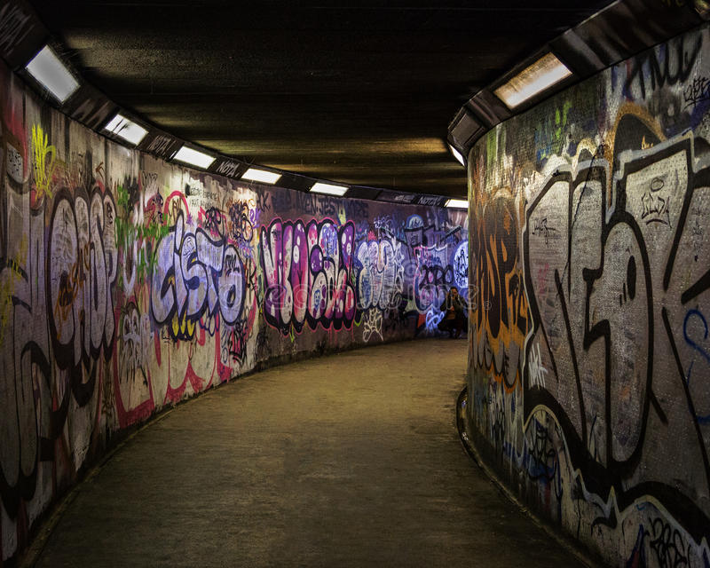 Subway covered with graffiti royalty free stock images