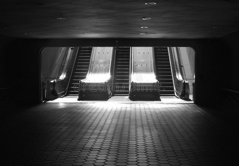 Subway escalator. OLYMPUS DIGITAL CAMERA Subway escalator. Washington, DC stock photo