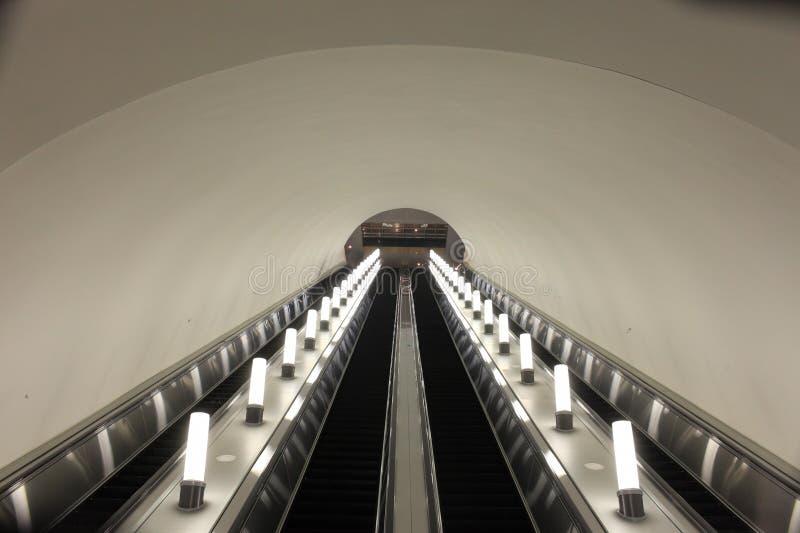 Subway escalator. It is subway escalator in Almaty, Kazakhstan stock photo